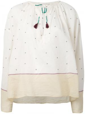 Блузка с вышивкой Orpheo Mes Demoiselles. Цвет: белый