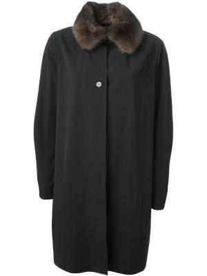 Пальто с воротником из соболиного меха Liska. Цвет: чёрный