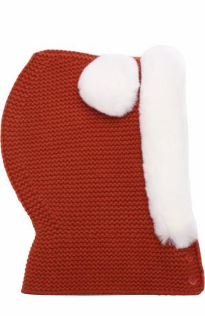 Кашемировая балаклава фактурной вязки с меховой отделкой Loro Piana. Цвет: оранжевый