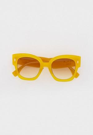 Очки солнцезащитные Fendi. Цвет: желтый