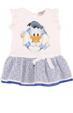 Хлопковое мини-платье с кружевной отделкой Monnalisa. Цвет: голубой