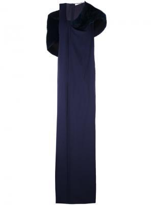 Платье с меховым воротником Chalayan. Цвет: синий