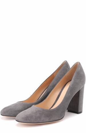 Замшевые туфли Linda на устойчивом каблуке Gianvito Rossi. Цвет: серый