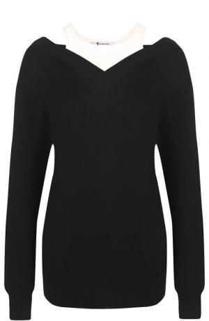 Шерстяной пуловер с контрастным воротником T by Alexander Wang. Цвет: черный