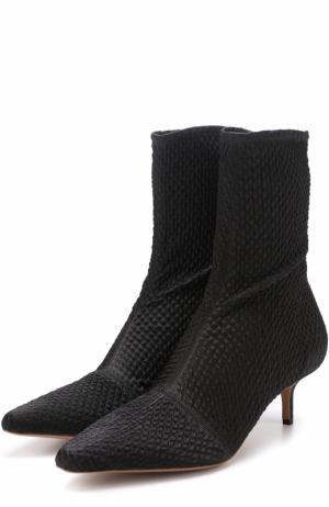 Текстильные ботильоны с прострочкой на каблуке kitten heel Altuzarra. Цвет: черный