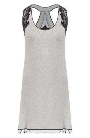Ночная сорочка с кружевной отделкой Gianantonio Paladini. Цвет: серый