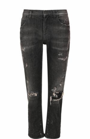 Укороченные джинсы с потертостями Faith Connexion. Цвет: черный