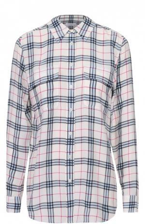 Шелковая блуза прямого кроя в клетку Equipment. Цвет: разноцветный