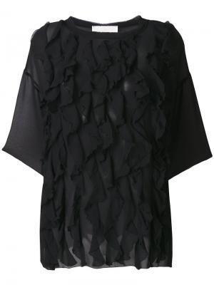 Блузка с оборками и укороченными рукавами 8pm. Цвет: чёрный