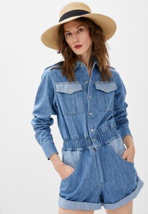 Комбинезон джинсовый Forte Dei Marmi Couture. Цвет: голубой