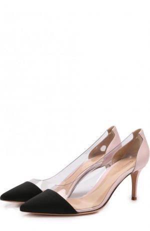 Комбинированные туфли Plexi на шпильке Gianvito Rossi. Цвет: черный