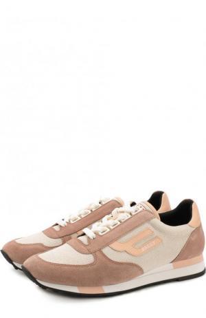 Комбинированные кроссовки Gavinia на шнуровке Bally. Цвет: бежевый