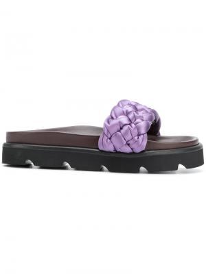 Woven slider sandals Mulberry. Цвет: розовый и фиолетовый