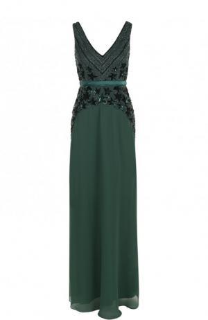 Приталенное платье-макси с вышивкой Basix Black Label. Цвет: зеленый