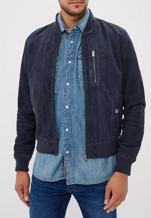 Куртка кожаная Selected Homme. Цвет: синий