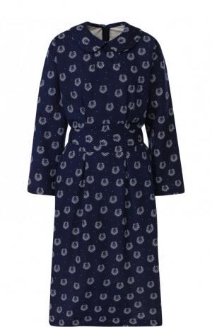 Приталенное платье-миди из вискозы Comme des Garcons GIRL. Цвет: синий