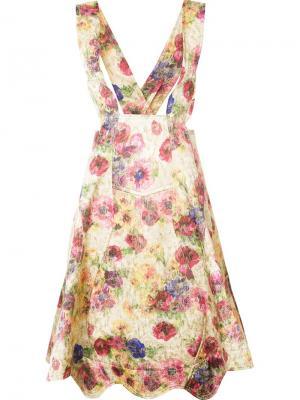 Юбка с цветочным рисунком и подтяжками Comme Des Garçons. Цвет: многоцветный