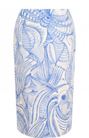 Хлопковая юбка-миди с принтом Dries Van Noten. Цвет: голубой
