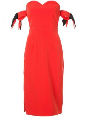 Платье-бюстье с вырезом в форме сердца Milly. Цвет: красный