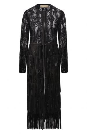 Кожаное пальто с отделкой Elie Saab. Цвет: черный