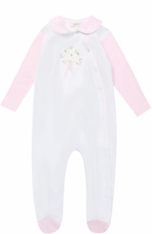 Хлопковая пижама с вышивкой Aletta. Цвет: розовый