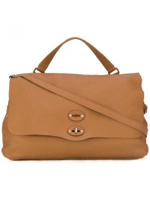 Большая сумка-тоут с заклепками Zanellato. Цвет: коричневый