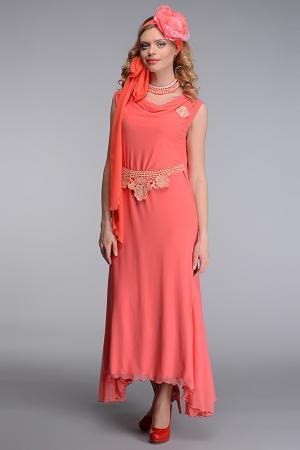 Платье с бусами Kata Binska. Цвет: коралловый