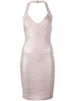Обтягивающее платье с вырезом-хальтер Hervé Léger. Цвет: розовый и фиолетовый