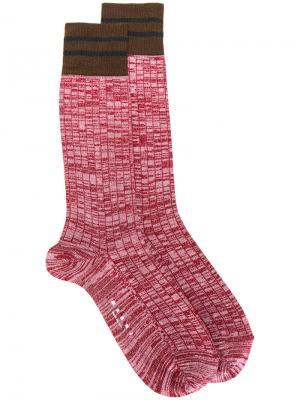 Носки с отделкой в полоску Marni. Цвет: красный
