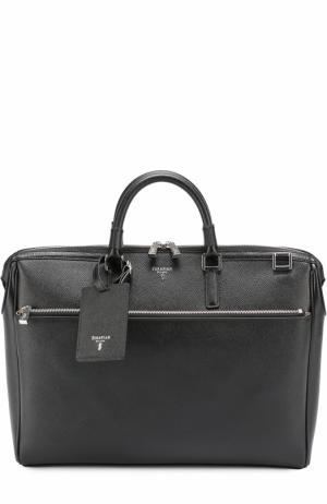 Кожаная сумка для ноутбука Serapian. Цвет: черный