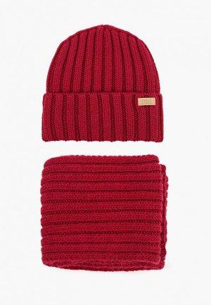 Шапка и шарф Ferz. Цвет: бордовый