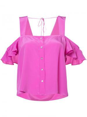 Укороченный топ со спущенными рукавами Nicole Miller. Цвет: розовый и фиолетовый