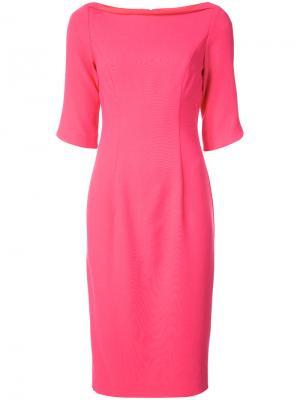 Платье-миди с вырезом-лодочкой Black Halo. Цвет: розовый и фиолетовый