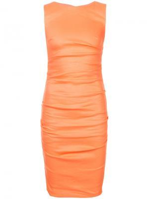 Присборенное платье кроя по фигуре Nicole Miller. Цвет: жёлтый и оранжевый