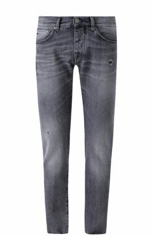 Джинсы прямого кроя с потертостями 2 Men Jeans. Цвет: черный