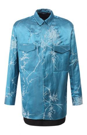 Рубашка из смеси льна и шелка Haider Ackermann. Цвет: синий