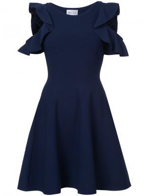 Платье с открытыми плечами и расклешенной юбкой Milly. Цвет: синий