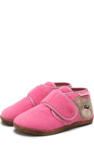 Текстильные домашние ботинки с застежкой велькро Naturino. Цвет: розовый