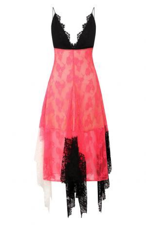 Кружевное платье-миди с оборками Christopher Kane. Цвет: розовый