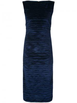 Текстурированное платье миди Nicole Miller. Цвет: синий