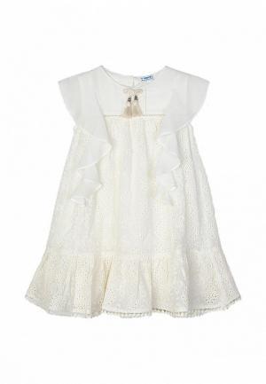 Платье Mayoral. Цвет: бежевый