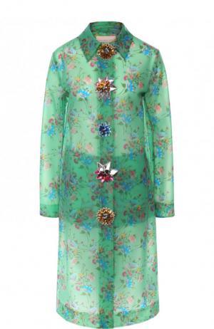 Пальто прямого кроя с декоративными пуговицами Christopher Kane. Цвет: зеленый