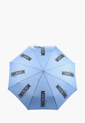 Зонт складной Moschino. Цвет: голубой