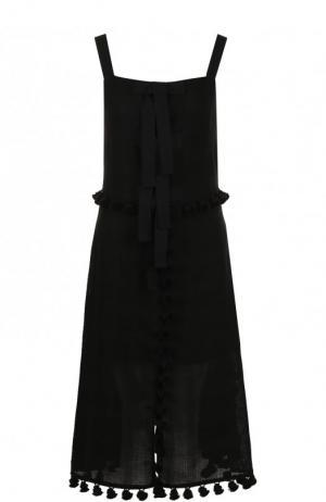 Приталенное платье-миди из льна Altuzarra. Цвет: черный