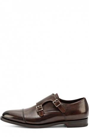 Кожаные монки с двумя пряжками Santoni. Цвет: коричневый