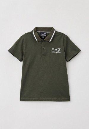 Поло EA7. Цвет: хаки