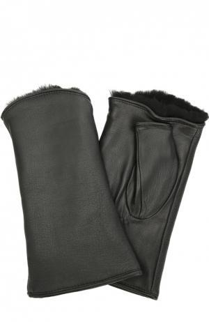 Кожаные перчатки без пальцев с подкладкой из меха кролика Agnelle. Цвет: черный