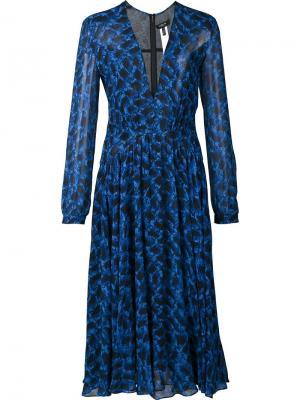 Плиссированное платье с узором Derek Lam. Цвет: синий
