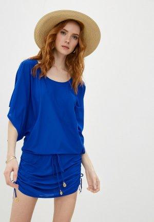 Платье пляжное Luli Fama. Цвет: синий