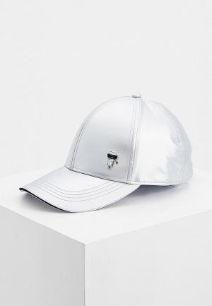 Бейсболка Karl Lagerfeld. Цвет: серебряный